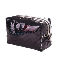 Farfi Fashion Sequin Women Travel Household Cosmetic Bag Large Capacity  Container Black + Silver (502094815 39239e5e32c8