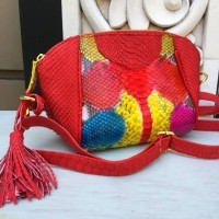 Tas Kulit Ular Model Pepita Size S Full Piton - Tas Pesta Multi Red Color ebc8d2f918