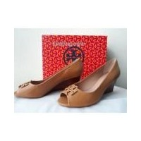276a2b25e573 Sepatu Tory Burch Lowell 2 Peep Toe 65mm Wedge 43072 Mestico Blond Leather  US size 7.5