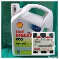 AD Oli Mesin Shell Helix ECO 0w 20 Galon 35 Liter Dan Filter Agya