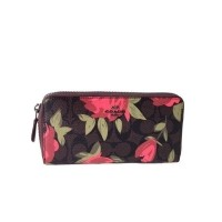Dompet Wanita Coach Accordion Wallet Rose Print - Dark Brown (26753127) 927082b25a