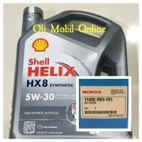 Oli Mesin Shell Helix Hx8 Sae 5w30 Galon 4liter Segel Hologram Filter Honda 26778655