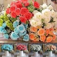 AD ราคา Promo 1 Buket Bunga Mawar Buatan dengan 15 Kepala Bahan Faux Sutra  Untuk Hiasan Pesta 31a31736a3