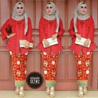 Set Srikandi Merah Baju Setelan Muslim Masa Kini Baju Muslim Kekinian  6d638447a7