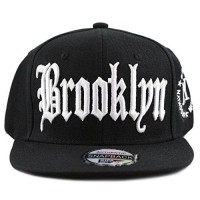 b2ea51fbf7c06 The Hat Depot 1300 Premium Quality Brooklyn Flat Visor Snapback Baseball  Cap (Black White)