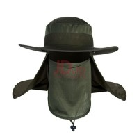 Farfi Outdoor Sun Protection Neck Face Cover Flap Cap Wide Brim Hiking  Fishing Hat Army Green 281be18b07