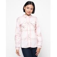 Nevada Kemeja Lengan Panjang Wanita Print Check - Pastel Pink (5652152) 66216d7d42
