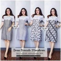 Dress Brocade Monokrom Dress Batik Cantik Brokat Seragam Batik Kerja Kantor