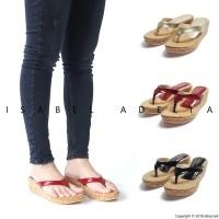 Isabel SOFIA Sepatu Sandal Wanita Wedges Gold Merah Hitam(100069675) b4b4e0c506