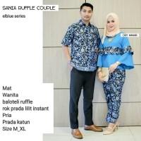 TERMURAH - Baju Batik Couple - Batik Sarimbit - Batik Kondangan - Kebaya  batik Modern - Baju Gamis Wanita Terbaru - Batik Couple Sania Ruffle Couple  - BIRU ... aab0e21d3d