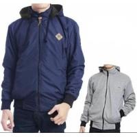 Jaket pria wanita model terbaru murah bolak balik 2in1 keren - ( Biru navy  dalam abu muda) 368997b588