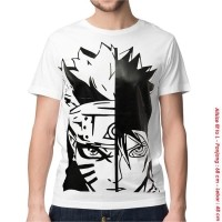 Daftar harga Kaos Distro Baju Keren Anime Sasuke White Pria Bulan ... ec0ba712b4