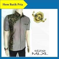Hem Batik Pria Kemeja Batik Pria Kombinasi Modern Baju Batik Seragam Kantor  (412016375) 7f2bf9a22b