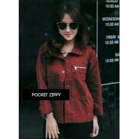 Jaket Polan Maroon - Polan Jaket Fashion Jaket Modis Wanita - Zippy Pocket  - Pocket Zippy 79ee57acd1