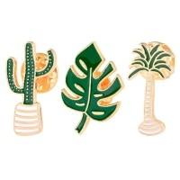 Liut 3 Pcs Set Enamel Tanaman Kaktus Pot Bros Kerah Pin Lencana Pakaian Kartun Pin 843758244