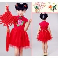 pakaian anak tradisional china cheongsam   baju merah shanghai Qipao imlek 41ed3afb6d