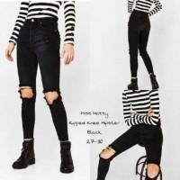 Sz 27 - 30 RIPPED KNEE HIPSTER BLACK   soft jeans wanita a72ed13acf