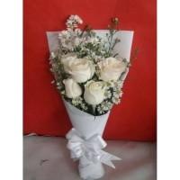 Buket Bunga Mawar Putih Asli Bunga Wisuda Buket Wisuda Kado Ulang Tahun 3ada927e6b