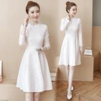 Dress Midi Lengan Panjang Elegan Bahan Lace Untuk Pesta Pernikahan