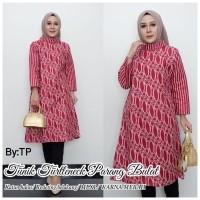 Tunik Batik Wanita Dress Model Turtleneck Motif Parang Bulat Modern Exclusive