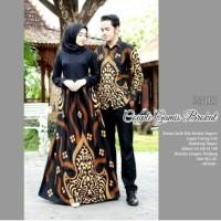 Couple Gamis Brokat Batik Sarimbit Pesta Glamour Mewah Gaun Batik Warna Hitam Gold Cream Fit Ld 106