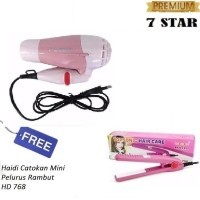 PAKET HEMAT 7STAR - Hair Dryer Lipat Mini Fleco Mermaid Pengering Rambut +  Gratis Haidi Catokan d85ba0c928