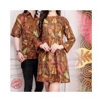 SB Collection Couple Atasan Midi Dress Syakila Tunik Batik Dan Kemeja Batik  Pria - Coklat ( dc409f3dc5