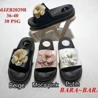 b8d2c586b6d1 Sandal sendal wanita cewe karet jelly bara selop kop bunga hitam wedges