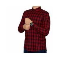 Kemeja Flanel Pria panjang lengan tak kotak hitam merah (183163535) c25824f500